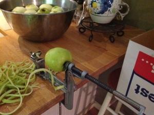 Peeling the apples in September!