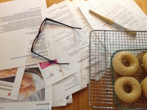 Piles of printouts/testing donuts