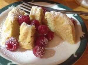 Just-picked raspberries and a powdered sugar dusting