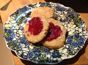 Mostly whole wheat with a little more butter and some raspberry jam.