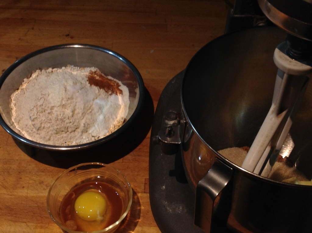 2 flours, 3 sugars, an egg, and other sundries.